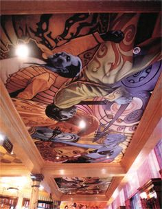 Brannigans, mural, colourful, ceiling, acrylic on canvas, pop stars