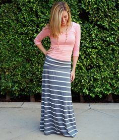 grey and white maxi skirt with pink! Pretty!