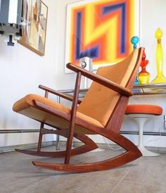 Mid-Century Danish Modern SOREN JENSEN KUBUS TEAK Sculpture ROCKING CHAIR