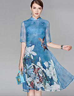 572b219a71 cheap Women s Party Going out Boho Street chic Chiffon Swing Dress