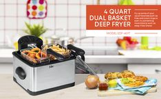 Includes 2 frying baskets and 1 large 4 quart frying basket. Cord length : 36 Inches One 4 quart enamel removable inner pot Adjustable temperature settings and timer knob Immiscible heating element Brushed Stainless Steel housing Small Deep Fryer, Best Deep Fryer, Outdoor Deep Fryer, Electric Deep Fryer, Specialty Appliances, Steel House, Heating Element, Small Kitchen Appliances, Brushed Stainless Steel