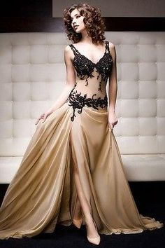 Sexy Black Applique Slit Long Evening Dress Prom Cocktail Party Pageant Gown NEW