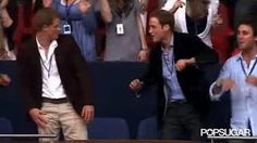Prince William embarrassing Prince Harry with his dancing.