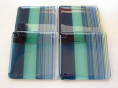 Shades of Atlantis Fused Glass Coasters by dortdesigns on Etsy, $25.00