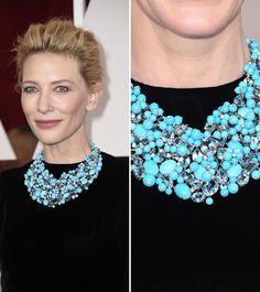 Las joyas más espectaculares de los Oscar 2015. Cate Blanchett usó un collar floral, de varias filas y en color turquesa de Tiffany & Co.