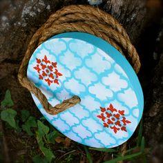 "Round Tree Swing - ""Turquoise and Red Wonderland"". $49.00, via Etsy."