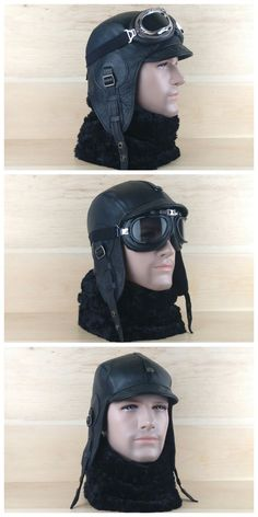 Aviator hat, black leather steampunk cap motorcycle moto motobike helmet and goggles, flying pilot cap, military style WW2, for men and women.   FREE SHIPPING!