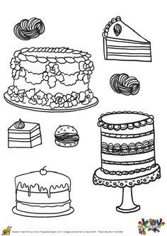 Magnifique réalisation à colorier d'une pièce montée et de gâteaux