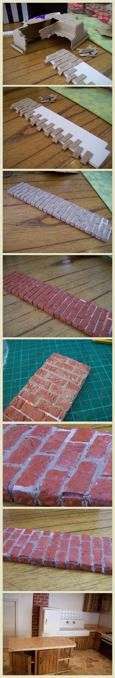 easier than wood to cut Техника изготовления кирпичной кладки из бумажной коробки