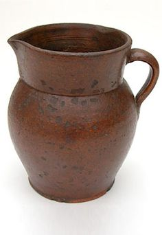 Redware Pitcher»  Exquisite form and surface on this early American redware pitche
