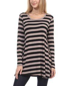Mocha & Black Stripe Tunic