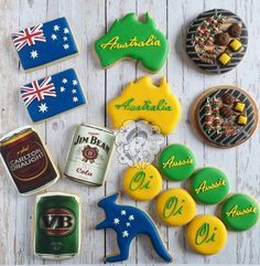 Australia Day BBQ Edible Image Cans Cookies - Cookies by Qui Geelong Australian Cookies, Australian Party, Royal Icing Cookies, Sugar Cookies, Cookie Designs, Cookie Ideas, Jim Beam, Australia Day, Custom Cookies
