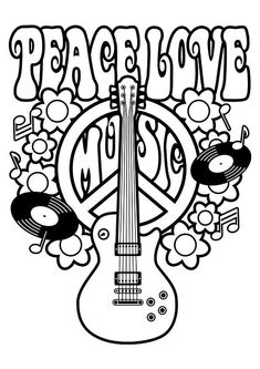 Peace Love Music Coloring Page from category. Find out more nice printable coloring for your children Love Coloring Pages, Printable Adult Coloring Pages, Free Coloring, Coloring Books, Stencils, We Will Rock You, Woodstock, Doodle Drawings, Lettering