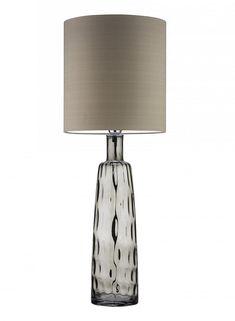"Customizable Design: 34"" Tall Statuesque 1950's Inspired Art Glass Table Lamp * Smoke Grey * Custom Electrics, Over 100 Silk, Satin, Cotton, Linen Shade Colors Options"