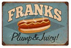 Vintage and Retro Wall Decor - JackandFriends.com - Retro Franks Tin Sign, $39.97 (http://www.jackandfriends.com/vintage-franks-metal-sign/)