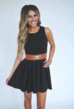 Black/Camel Belted Dress - Dottie Couture Boutique