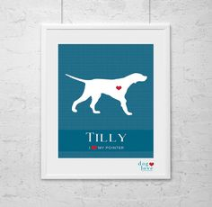 English Pointer Silhouette  Personalized 8x10 Dog by DogLoveShoppe