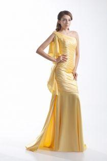 Sleeveless ruffled one shoulder mermaid ruched prom dress