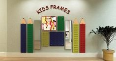 Design a kids area! Kids Pencil Wall Displays with Graphic Panel and Mirror.  #Optical Merchandising #WallDisplays http://www.fashionoptical.com/products