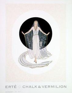 Erte Romain de Tirtoff Veil Gown Art Print  This is a high quality lithograph fine art print of a fashion painting by Etre entitled ' Romain de Tirtoff Veil Gown' . See Erte Romain de Tirtoff Veil Gown Art Print framed.