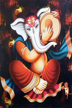 Ganesha Playing Daffli - Hindu Posters (Reprint on Paper - Unframed) Ganesha Drawing, Lord Ganesha Paintings, Ganesha Art, Ganesh Rangoli, Shri Ganesh, Shiva Art, Krishna Art, Durga Images, Ganapati Decoration