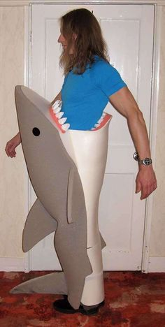 simple shark costume made with sweatshirt and sweat pants...I also ...