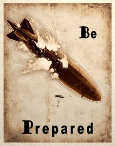 Steampunk Art Print Zeppelin Airship Balloon Crash Be Prepared. $14.00, via Etsy.
