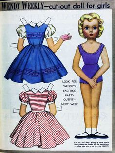 Wendy Weekly cut-out doll, 1958. (Australian Women's Weekly