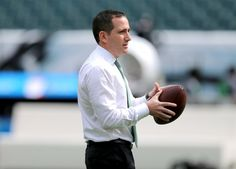 Howie Roseman, executive vice president of football operations for the Philadelphia Eagles throws a football before the first game of the season vs. the Philadelphia Eagles at Lincoln Financial Field in Philadelphia, Sunday, Sept. 11, 2016. (Tim Hawk | For NJ.com)
