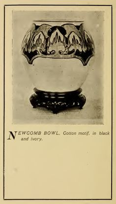 Newcomb bowl. Cotton motif, in black and ivory. From their 1905 catalog.