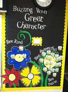 Need to recreate this on my bulletin board for Bee-havior Chart Character Bulletin Boards, Bee Bulletin Boards, Counseling Bulletin Boards, Bulletin Board Display, School Counseling, Elementary Counseling, Counseling Posters, Classroom Themes, Classroom Organization