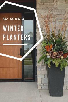 Choose the clean modern lines of the Sonata recycled rubber planter for your contemporary front door décor! #holidayplanter #modernplanter #contemporarydesign #urbanplanter Urban Planters, Modern Planters, Winter Planter, Contemporary Front Doors, Floors And More, Self Watering Planter, Plastic Planter, Outdoor Material, Recycled Rubber