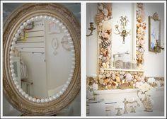 Espelhos com pérolas e conchas