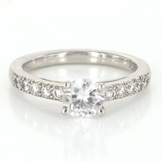 Vintage Platinum Diamond Cubic Zirconia Engagement Ring