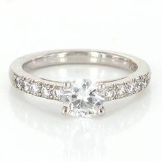 Vintage Platinum Diamond Cubic Zirconia Engagement Ring