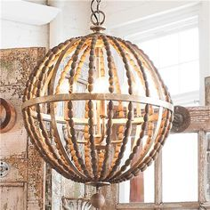 "Wooden Bead Globe Chandelier.  Rustic wood beads & Lt. Bronze metal finish.  18.25""W x 23.75""H.  10' chain.  4x60watts-c"