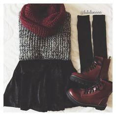 gray sweater black velvet skater skirt burgundy knit scarf dark red... ❤ liked on Polyvore featuring intimates, hosiery, socks, knee high socks, grey socks, dr. martens, knee hi socks and knee socks