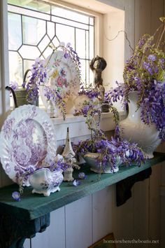 In the Potting Shed: Wisteria and Blooming Dishes | homeiswheretheboatis.net #transferware