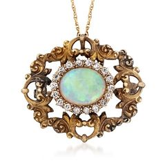 """C. 1920 Vintage Opal and .55 ct. t.w. Diamond Pin Pendant Necklace in 14kt Yellow Gold. 20"""""""