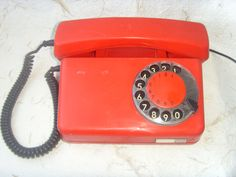 Rare Vintage Polish Red Rotary Telephone Tulipan 319 by Astra9