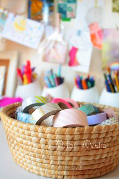 washi tape, looks pretty in a basket