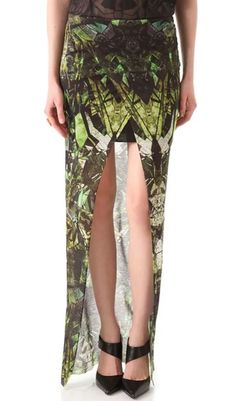 HELMUT LANG Cicadae Print Maxi Skirt Size: Large L Helmut Lang green, brown and lime maxi skirt Printed modal-jersey Elasticated waistband, wrap effect, front split,intentionally unfinished hem, partially lined Slips on 100% modal; lining: 100% viscose Dry clean Designer color: Lizard Multi Fits true to size Maxi-length design | eBay!
