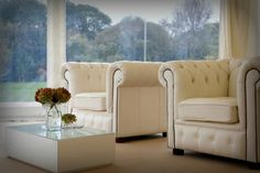 Our white Chesterfield armchairs make ideal comfortable yet stylish seating areas for weddings.