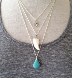 3 Layer Necklace Om Shark Tooth Turquoise Stone Boho Yoga Jewelry Silver UK