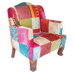 A mango wood frame wrapped in velvet patchwork upholstery,