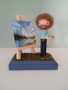 I want him to come live with me - what a happy little clothespin! Bob Ross Clothespin Doll