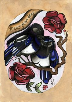 Tattoo Two for Joy Magpie Print. £6.00, via Etsy.