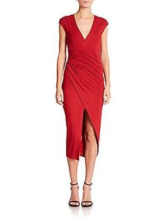 Donna Karan Cap-Sleeve Draped Dress