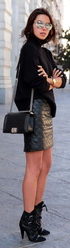 Black Quilted Leather Mini Skirt by Vivaluxury