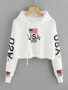 Drop Shoulder American Flag Print HoodieFor Women-romwe - Drop Shoulder American Flag Print HoodieFor Women-romwe Check more at www. Girls Fashion Clothes, Teen Fashion Outfits, Mode Outfits, Outfits For Teens, Girl Outfits, Womens Fashion, Crop Top Outfits, Cute Casual Outfits, Vetement Fashion
